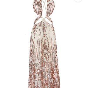 Vergara rose gold deep v plunge sequin dress
